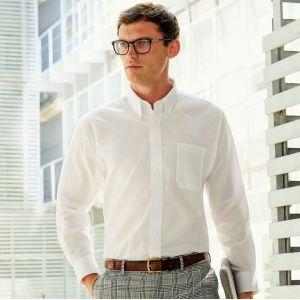 Chemise homme Oxford à manches longues doux et confortable, 135 g/m²