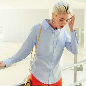 Chemise femme Oxford à manches longues doux et confortable, 135 g/m²