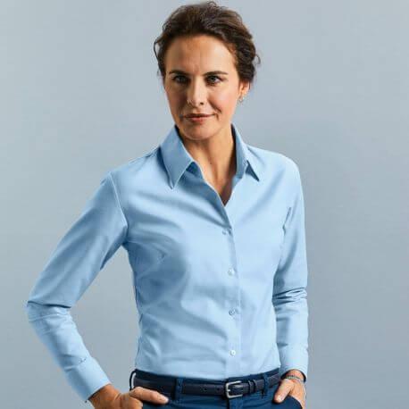 Chemisier Oxford femme, manches longues, coupe cintrée, 135 g/m²