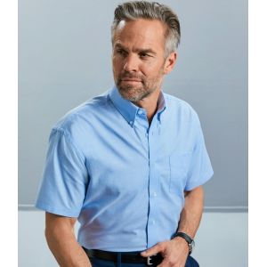 Chemisier Oxford homme, manches courtes, coupe classique, 135 g/m²
