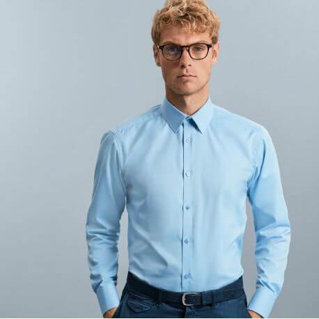 Chemise homme manches longues à chevrons, coupe ajustée, 130 g/m²