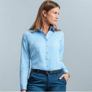 Chemise femme manches longues à chevrons, coupe cintrée, 130 g/m²