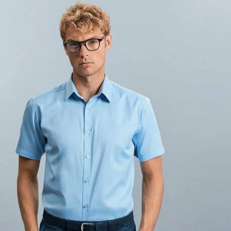 Chemise homme manches courtes à chevrons, coupe ajustée, 130 g/m²