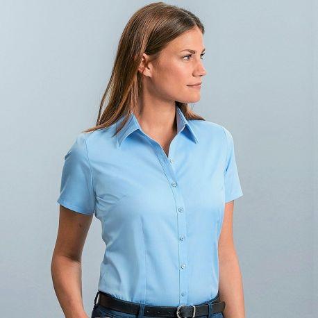 Chemise femme manches courtes à chevrons, coupe cintrée, 130 g/m²