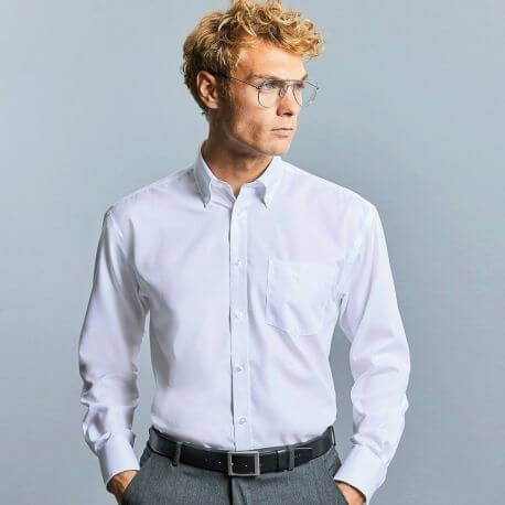 Chemise classique homme manches longues en coton sans repassage, 120 g/m²