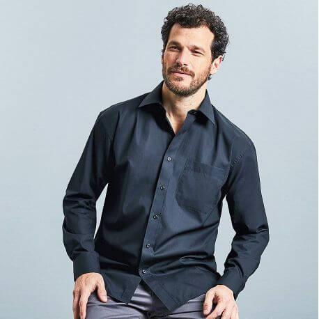 Chemise homme en popeline coton pur col Kent, manches longues, 125 g/m²