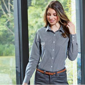 Chemise femme manches longues en popeline micro carreaux Vichy, 115 g/m²