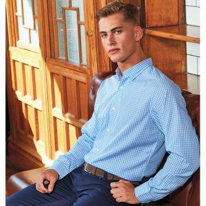 Chemise homme manches longues en popeline gros carreaux Vichy, 110 g/m²