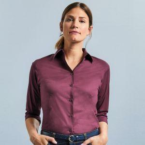 Chemise femme stretch ajustée manches 3/4, 140 g/m²