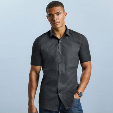 Chemise homme Ultimate stretch ajustée manches courtes, 130 g/m²