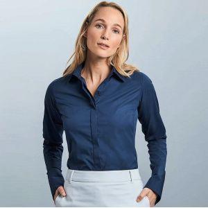 Chemise femme Ultimate stretch ajustée manches longues, 130 g/m²