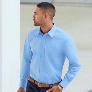 Chemise homme manches longues en popeline, col renforcé, 120 g/m²
