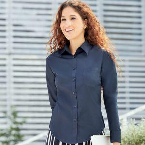Chemise femme manches longues en popeline, col classique, 120 g/m²