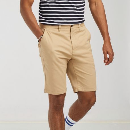 Short chino stretch homme sans pince, 220 g/m²