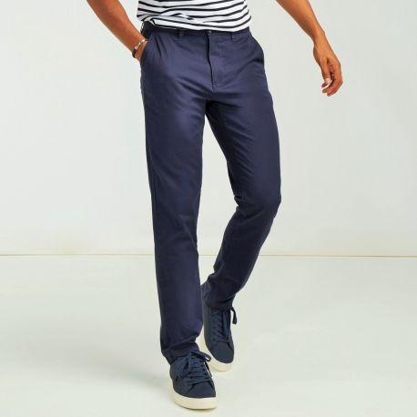 Pantalon chino stretch homme sans pince, 220 g/m²