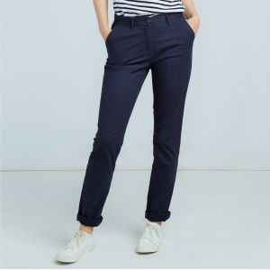 Pantalon chino stretch femme sans pince, 220 g/m²