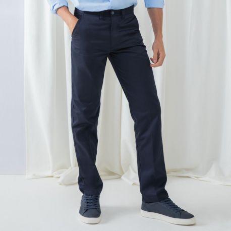 Pantalon chino homme sans pince en polycoton, 255 g/m²