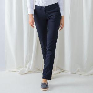 Pantalon chino femme sans pince en polycoton, 255 g/m²
