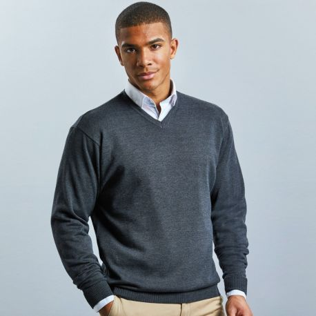 Pull-over classique col V pour homme, 275 g/m²