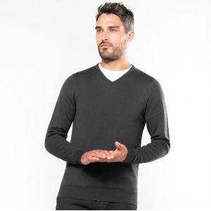 Pull homme col V coupe ajustée en coton et acrylique, 290 g/m²