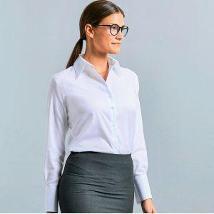 Chemise classique femme manches longues en coton sans repassage, 120 g/m²