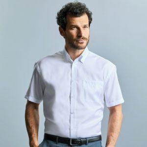 Chemise classique homme manches courtes en coton sans repassage, 120 g/m²