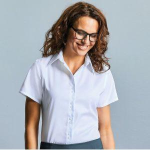 Chemise classique femme manches courtes en coton sans repassage, 120 g/m²