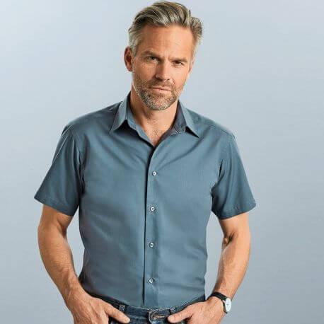 Chemise manches courtes homme cintrée, col Kent, 115 g/m²