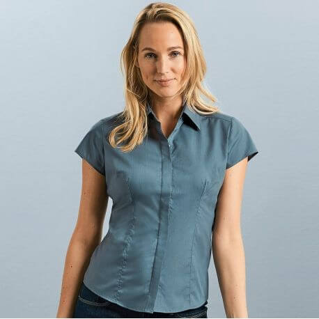Chemise manches courtes femme ajustée, petites manches, 115 g/m²