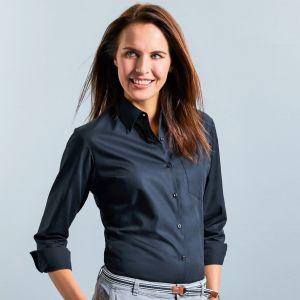 Chemise femme en popeline coton pur col Kent, manches longues, 125 g/m²