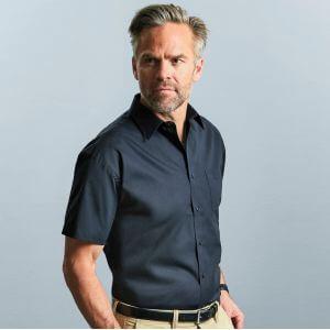 Chemisette homme en popeline coton pur col Kent, manches courtes, 125 g/m²