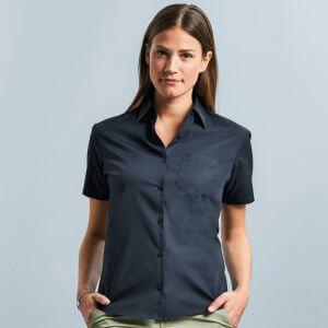 Chemise femme en popeline coton pur col Kent, manches courtes, 125 g/m²