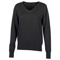 Pull col V femme 50% coton, 50% acrylique, 270 g/m²