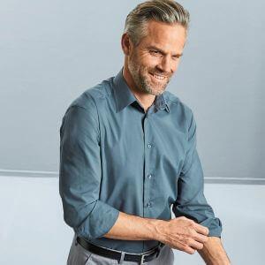 Chemise manches longues homme cintrée, col Kent, 115 g/m²