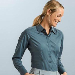 Chemise manches longues femme ajustée, col classique, 115 g/m²