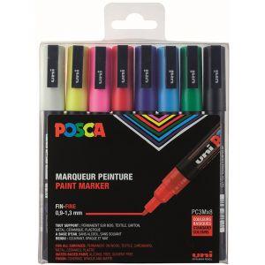 Pochette 8 feutres couleurs basiques POSCA pointe fine 0.9-1.3 mm conique