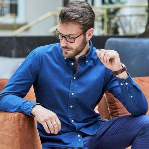 Chemise jean homme ajustée en coton sergé, 166 g/m²