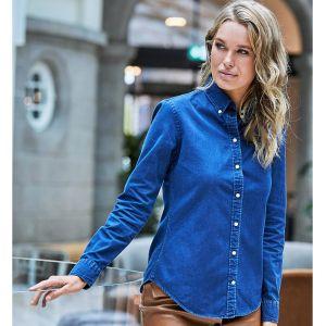 Chemise jean femme ajustée en coton sergé, 166 g/m²