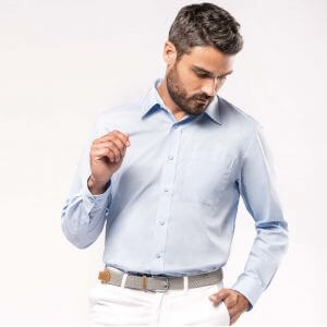 Chemise homme manches longues, boutons ton sur ton, 110 g/m²