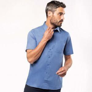 Chemise homme manches courtes, boutons ton sur ton, 110 g/m²