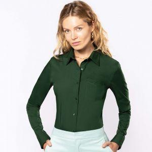 Chemise femme manches longues, boutons ton sur ton, 110 g/m²