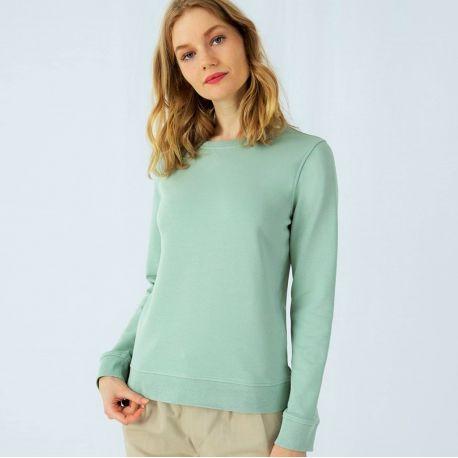Sweat-shirt set-in femme, coton BIO et polyester recyclé, 280 g/m²