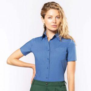 Chemise femme manches courtes, boutons ton sur ton, 110 g/m²