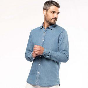 Chemise denim homme souple et confortable, coupe ajustée, 160 g/m²