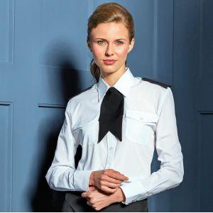 Chemise Pilote femme manches longues lisse et résistante, 115 g/m²