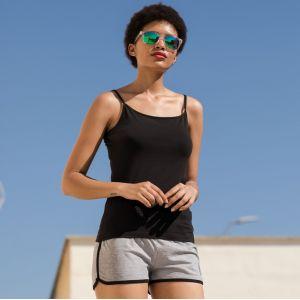 Short rétro femme avec poches, taille élastique à cordon de serrage