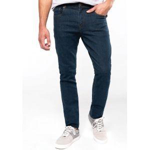 Jean basic en coton bleu denim vieilli moderne et confortable, 390 g/m²