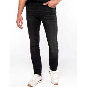 Jean basic en coton noir denim vieilli moderne et confortable, 390 g/m²