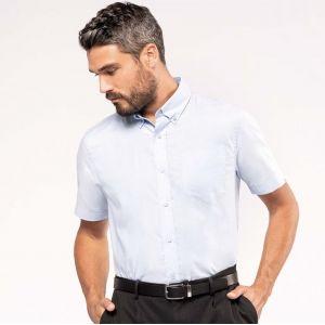 Chemise homme oxford manches courtes facile d'entretien, 135 g/m²