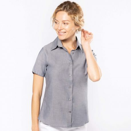 Chemise femme oxford manches courtes facile d'entretien, 135 g/m²